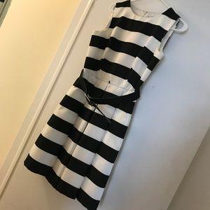 Chetta B Black and White Midi Dress